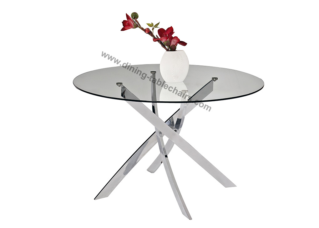 Clear Glass Glossy Chrome Round Dining Table Dia 1 2 Meter Glossy Chromed Legs